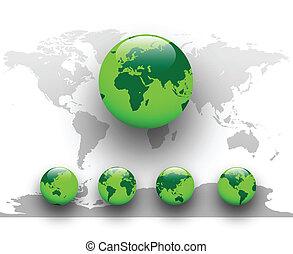mull, grön, globe., värld