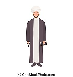 Mullah wearing turban and traditional clothes, holding beads...