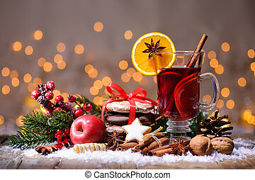 mulled, クリスマス, ワイン