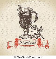 mulled, vinho., mão, desenhado, ilustração