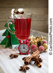 Mulled wine and christmas decorations
