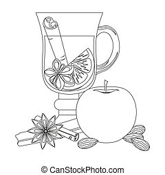 Mulled wine black and white vector poster on white background.