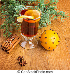 Mulled wine for winter and Christmas with fir branches