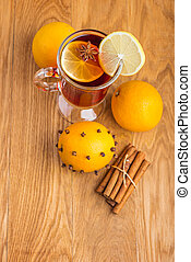 Mulled wine for winter and Christmas with spices and orange