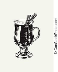 Mulled Wine Hand Drawn Drink Vector Illustration