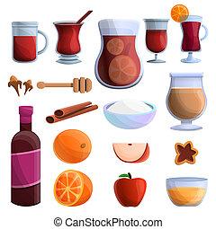 Mulled wine icons set, cartoon style