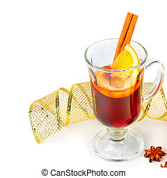 Mulled wine in a glass isolated on a white background. Free space for text.