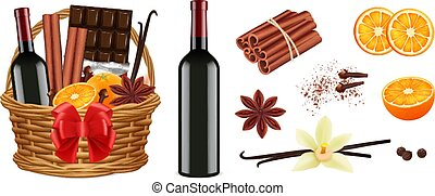 Mulled wine pack. Realistic christmas basket with wine cinnamon vanilla oranges. Isolated holiday gift vector illustration