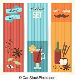 Mulled Wine Theme, Set of Vertical Banners. Vector Illustration, eps10.