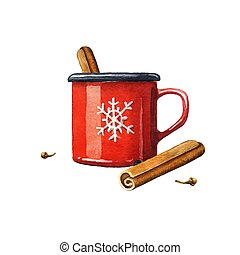 Mulled wine watercolor illustration