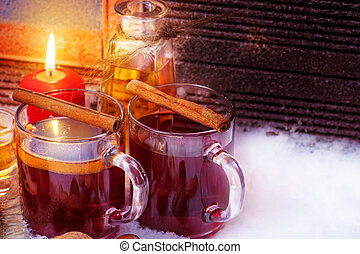 Mulled wine with cinnamon, rum