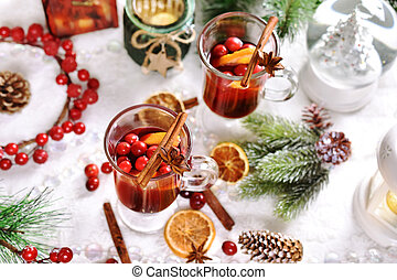 mulled wine with orange and cranberries for Christmas