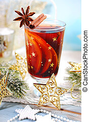 mulled wine with spices for christmas