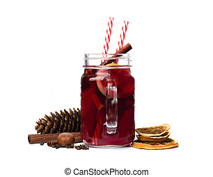 mulled wine with spices isolated on white background. Winter alcoholic cocktail. Christmas drink.