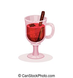 Mulled wine with spices vector Illustration on a white background