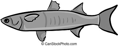 Mullet fish, illustration, vector on white background.