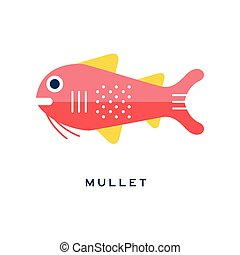 Mullet, sea fish geometric flat style design vector Illustration