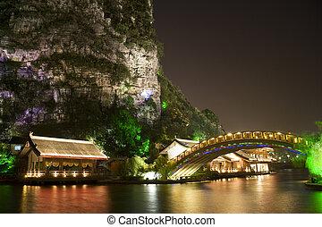 mulong, meer, gebouwen, en, brug, guilin, china