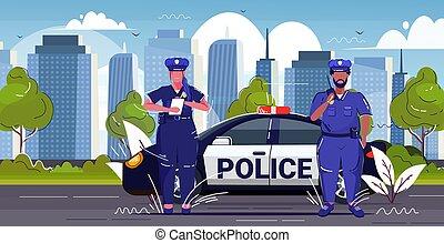 multa, bosquejo, patrulla, horizontal, mezcla, coche, ...
