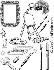 multa, conjunto, arte