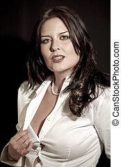 multa, excitado, secretária, com, camisa branca