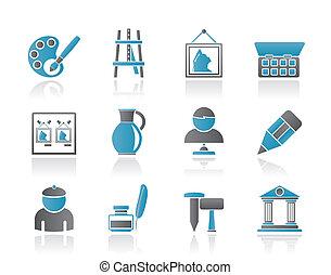 multa, objetos, arte, iconos