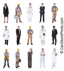 multiétnico, gente, con, varias ocupaciones