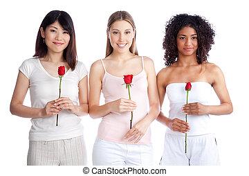multiétnico, valor en cartera de mujer, rosa