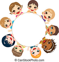 multi-étnico, crianças, grupo