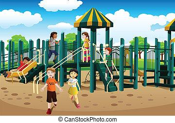 multi-étnico, crianças, pátio recreio, tocando