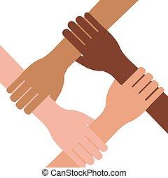 multi étnico, trabajo en equipo, unidad, manos