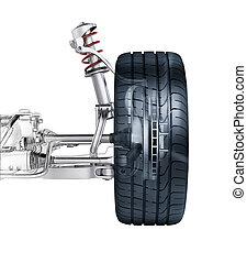 multi, ссылка, фронт, автомобиль, подвеска, with, brake.,...