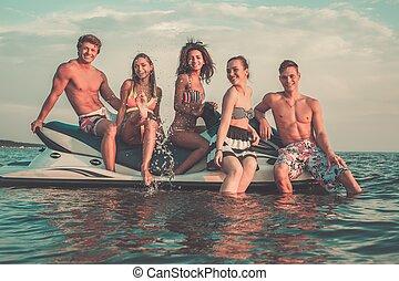 multi, グループ, ジェット機, モデル, スキー, 民族, 友人