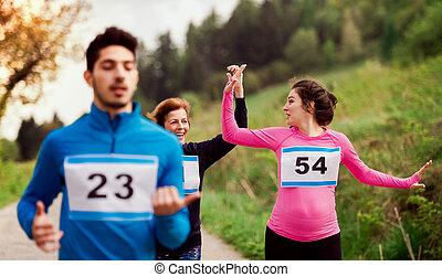 multi, グループ, 人々, 世代, nature., 競争, 動くこと, レース