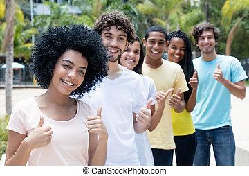 multi, グループ, 成人, 成功した, 若い, 民族, 線