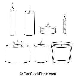 multi, セット, 容器, illustration., 先を細くすること, 蝋燭, 柱, ジャー, 隔離された,...