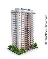 multi, 住宅の, 階, イラスト, 建物。, 3d