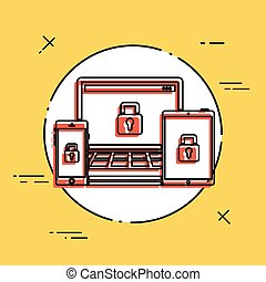multi, 保護, 装置, アイコン
