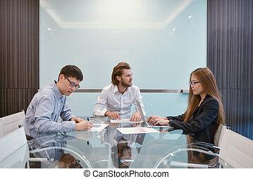 multi, 共有, グループ, ビジネス 人々, 部屋, ∥(彼・それ)ら∥, 考え, 民族, ミーティング