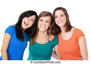 multi, 女の子, 3, 最も良く, 人種的, 友人