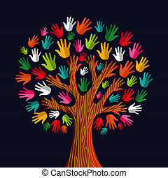 multi, 社会, 木, 団結, 手