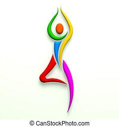 multi, actitud del yoga, árbol, color., persona
