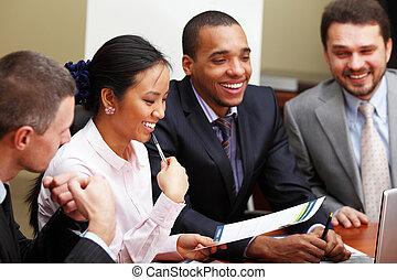 multi, affaires femme, interacting., équipe, foyer, ethnique...