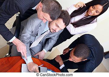 multi, affari, interacting., meeting., squadra, etnico