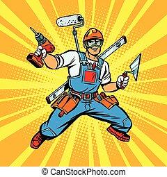 multi-armed, reparador, constructor