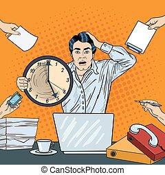 multi, arte, oficina, empresa / negocio, reloj, grande, trabajo, ilustración, vector, tasking, taponazo, tenencia, enfatizado, deadline., hombre