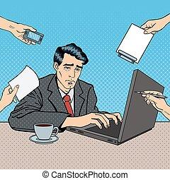 multi, arte, work., oficina, computador portatil, ilustración, vector, tasking, taponazo, hombre de negocios estresado