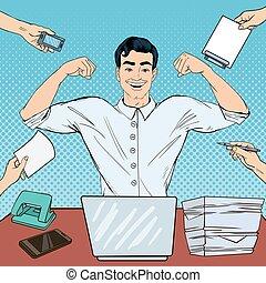 multi, arte, work., oficina, exitoso, computador portatil, ilustración, taponazo, vector, tasking, hombre de negocios
