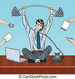multi, arte, work., oficina, exitoso, ilustración, vector, tasking, taponazo, hombre de negocios