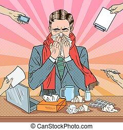 multi, arte, work., oficina, flu., estornudar, ilustración, vector, tasking, taponazo, hombre de negocios, hombre